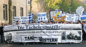 Fußballfans demonstrieren in Jena